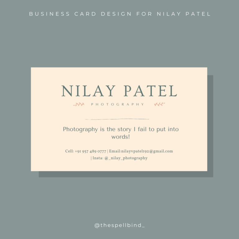Nilay Patel Photography - Branding 3